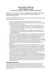 Bayreuther Erklärung zum Globalen Lernen - Eine Welt Netzwerk ...