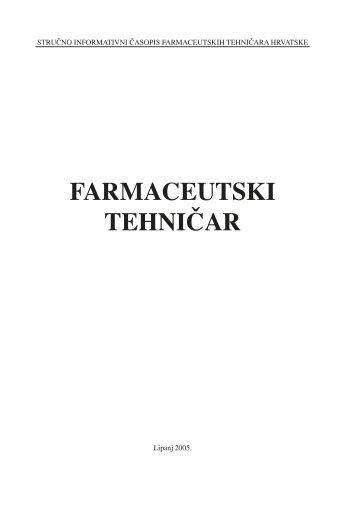 FARMACEUTSKI TEHNIČAR - HDFT