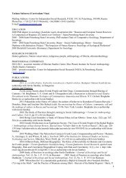 1 Tatiana Safonova (Curriculum Vitae) Mailing Address: Center for ...