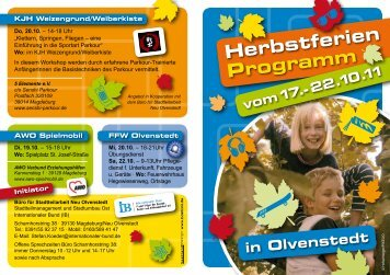 Herbstferien Programm vom 17.-22.10.11 - Olvenstedt