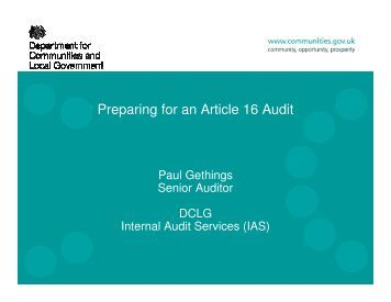 Preparing for an Article 16 Audit - One East Midlands