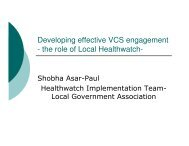 Developing effective VCS engagement - the role of Local Healthwatch-