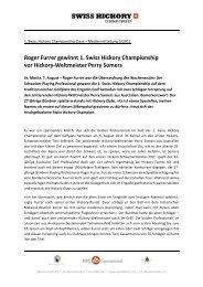 Roger Furrer gewinnt 1. Swiss Hickory Championship vor Hickory ...