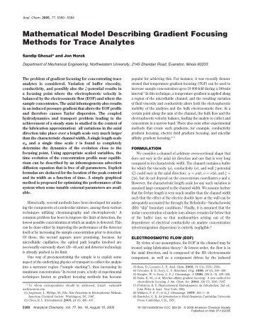 Mathematical Model Describing Gradient Focusing Methods for ...