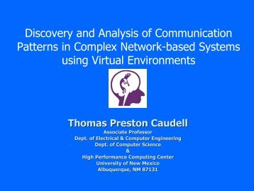 Discovery and Analysis of Communication Patterns in Complex ...