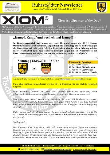 Ruhrst@dter Newsletter - TTC Ruhrstadt Herne