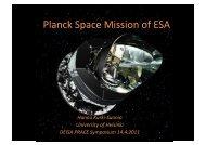 Planck Space Mission of ESA - prace