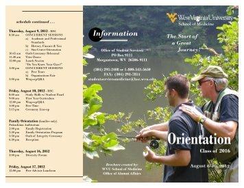 Orientation - WVU School of Medicine - West Virginia University