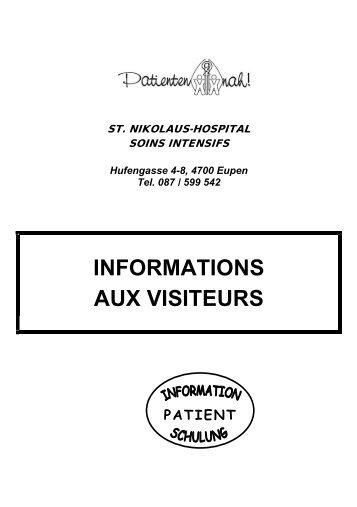 INFORMATIONS AUX VISITEURS - St. Nikolaus-Hospital Eupen