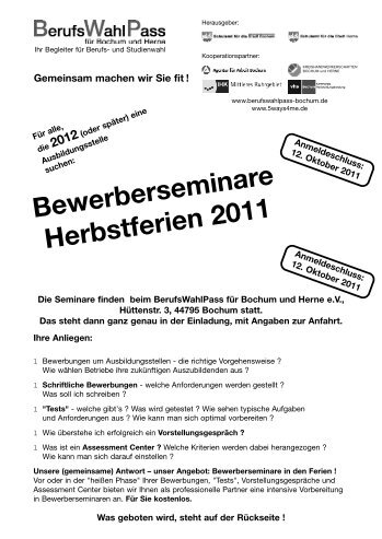 assessment-center (ac) - berufswahlpass für bochum und herne, Einladung