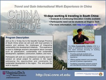 Download the Study Abroad in China brochure - Virginia Tech