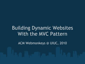 Building Dynamic Websites with MVC