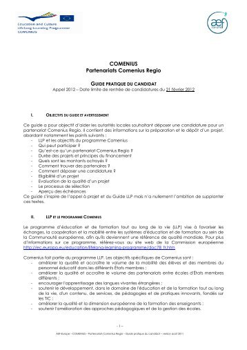 Guide pratique du candidat Regio 2012 - AEF Europe