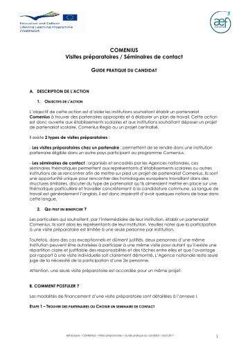 COMENIUS Visites préparatoires / Séminaires de ... - AEF Europe