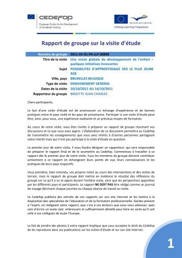 SV rapport final developpement enfant - AEF Europe