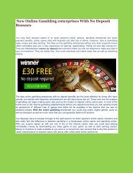 New Online Gambling enterprises With No Deposit Bonuses