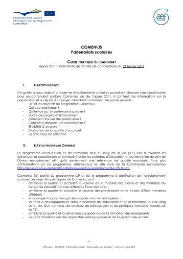 Guide pratique du candidat pship 2011 - AEF Europe
