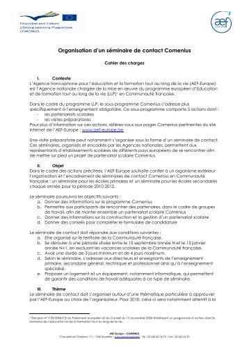 SC Comenius 2010 - cahier des charges - AEF Europe