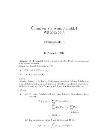 ¨Ubung zur Vorlesung Statistik I WS 2012-2013 ¨Ubungsblatt 5