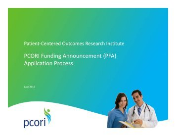 Application Process - Patient Centered Outcomes Research Institute