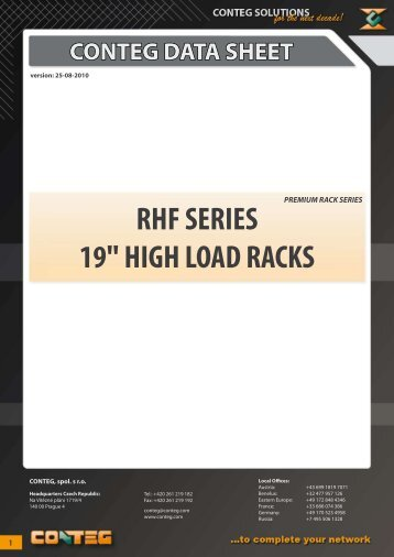 "conteg data sheet rhf series 19"" high load racks"