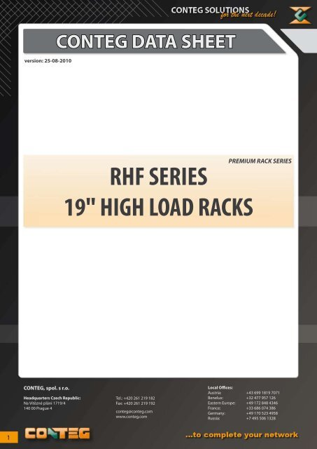 "conteg data sheet rhf series 19"" high load racks"