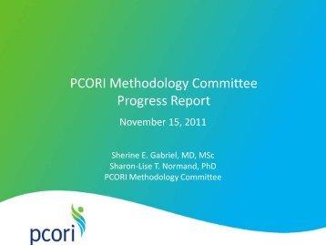 PCORI Methodology Committee Progress Report - Patient Centered ...