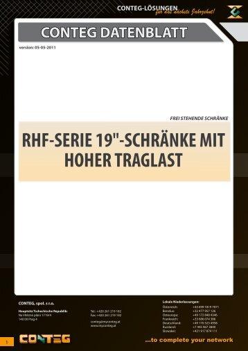 """conteg datenblatt rhf-serie 19""""-schränke mit hoher traglast"""