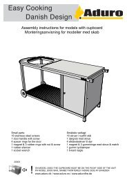 Assembly instructions for models with cupboard ... - Aduro