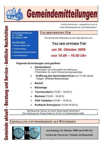 am 26. Oktober 2009 von 10.00 – 16.00 Uhr - Gemeinde Hollenstein ...
