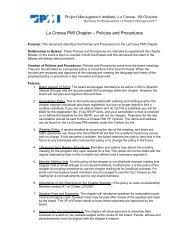 La Crosse PMI Chapter – Policies and Procedures