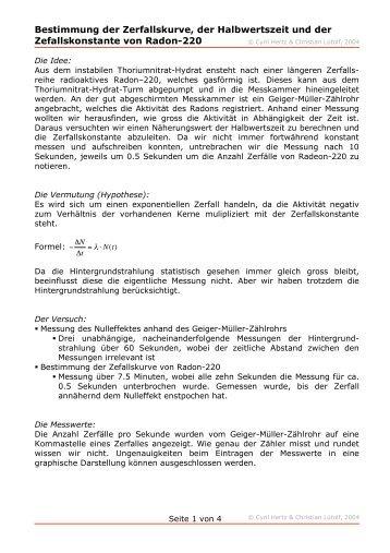 Bestimmung der Zerfallskurve, der Halbwertszeit und der ... - c-hertz.ch