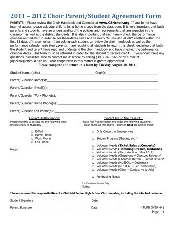 2013 2014 Choir Parentstudent Agreement Form Cshchoir