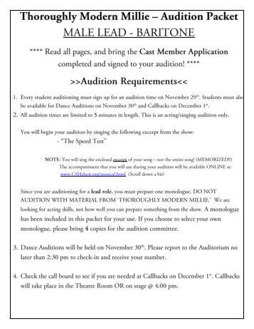 Cast Member Application - Cshchoir.org