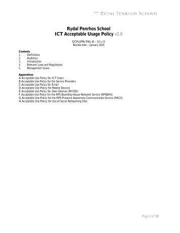 ICT Acceptable Usage Policy - Rydal Penrhos School