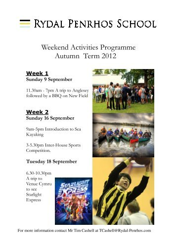 Weekend Activities Autumn 2012 - Rydal Penrhos School