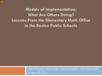 Implementation Considerations for the CCSS - Mathematically ...