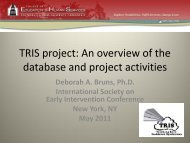 TRIS project: An overview of the database and project activities