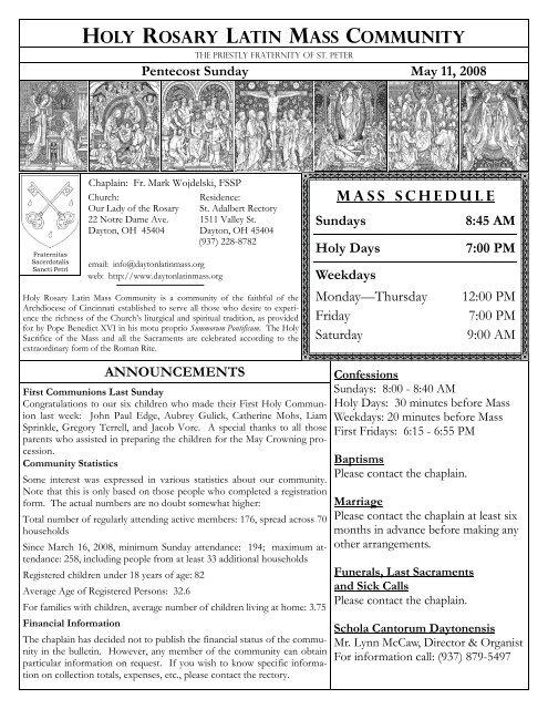 Holy family catholic church mass schedule