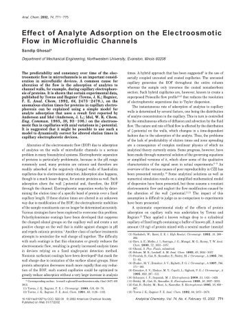 Effect of analyte adsorption on the electroosmotic flow through ...