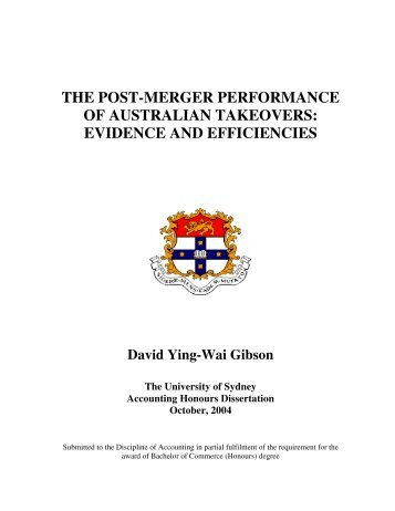 the post-merger performance of australian takeovers - philiplee.id.au