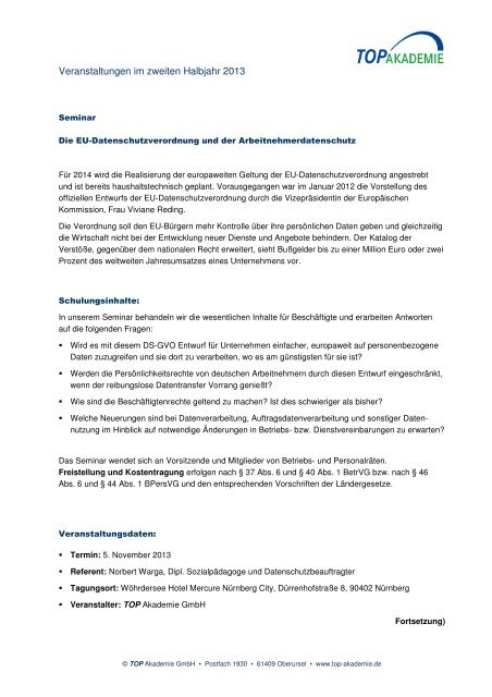 Veranstaltungen im zweiten Halbjahr 2013 - TOP Akademie