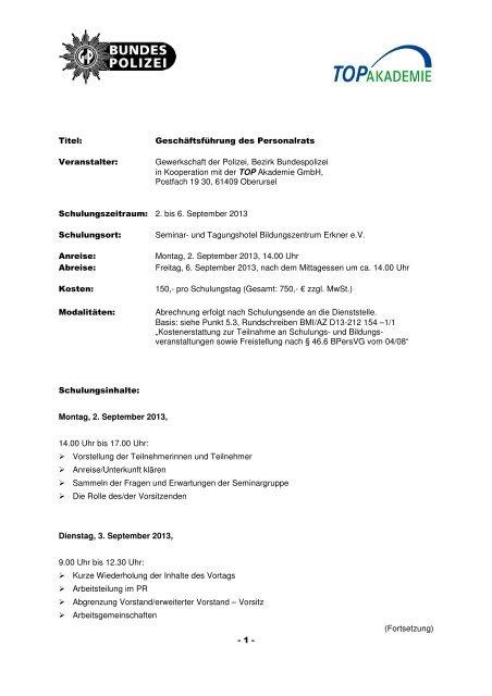 Titel: Geschäftsführung des Personalrats Veranstalter ...