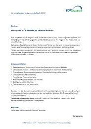 Veranstaltungen im zweiten Halbjahr 2012 - TOP Akademie