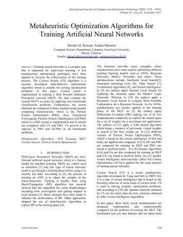 Metaheuristic Optimization Algorithms for Training Artificial ... - IJCIT