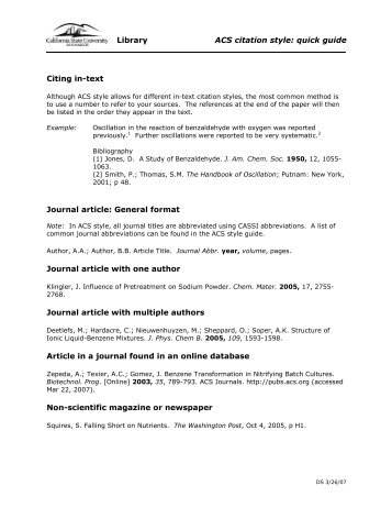 Library ACS citation style: quick guide Citing in-text Journal article ...