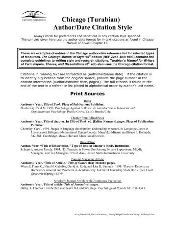 chicago turabian style paper Guide to turabian's a manual for writers (printable version here) format of the paper: 1 use kate turabian's a manual for writers of term papers chicago.