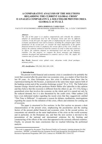 a comparative analysis of the solutions regarding the current global ...