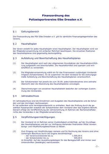 Finanzordnung des Polizeisportvereins Elbe Dresden eV - PSV Elbe ...