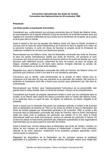 Convention internationale des droits de l'enfant Convention des ...